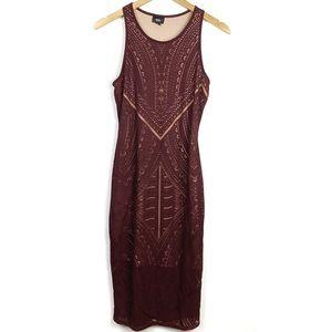 Mossimo Maroon Midi Patterned Sleeveless Dress